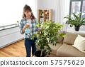 asian woman spraying houseplants at home 57575629