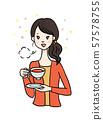 A woman who enjoys tea 57578755