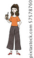 Woman drinking tapioca 57578760