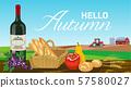 농장 수확물 와인과 과일과 빵 - 문자 대해서 57580027