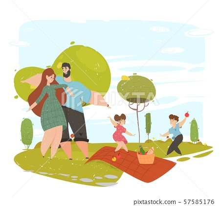 Happy Loving Family Spend Time on Picnic in Park 57585176