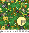 Jamaica rastafarian seamless pattern, vector illustration. Flat style icons of Jamaican culture and 57585899