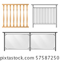 Railings, fence sections realistic vector set 57587250