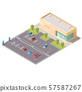 Car parking near store building isometric vector 57587267