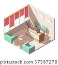 Hotel reception hall interior isometric vector 57587279