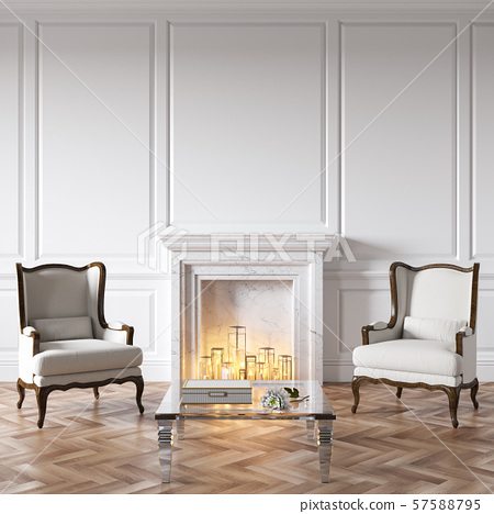 Classic white interior with fireplace, candles, armchairs, glass table, decor and wood floor. 57588795