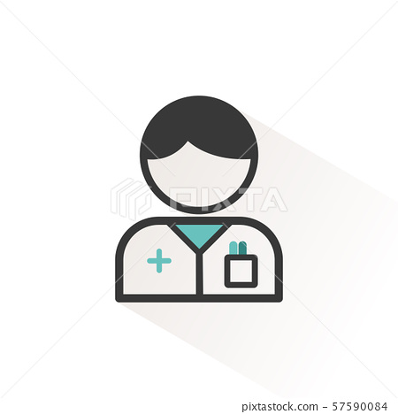 Pharmacist man. Flat icon with beige shade 57590084