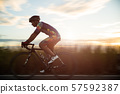 Soft focus of man cycling road bike 57592387