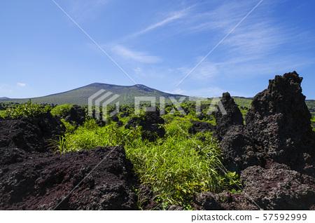 이즈 오시마의 등산로에서 보는 미하라 산 57592999
