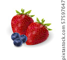 Strawberry and blackberry berrie realistic set. 3d 57597647