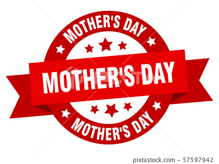 mother's day ribbon. mother's day round red sign. 57597942