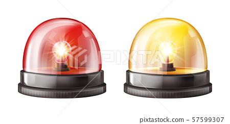 Siren alarm color lights 3D illustration 57599307