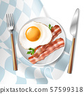 fried eggs with bacon strips and parsley 57599318