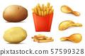 set of potato snacks, french fries, chips 57599328