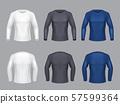 realistic set of male long sleeve shirts 57599364