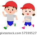 체육복 달리는 남녀 아동 일러스트 57599527