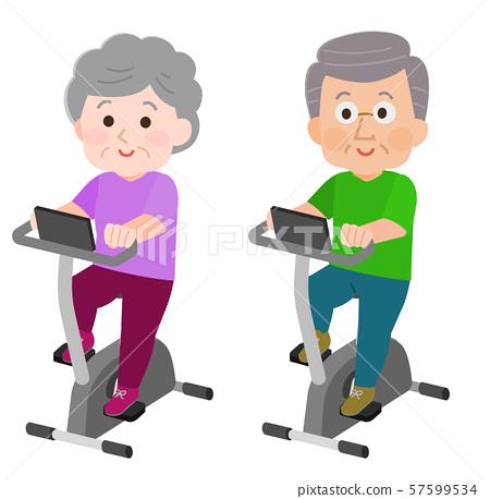 運動自行車,老人和女人行使 57599534
