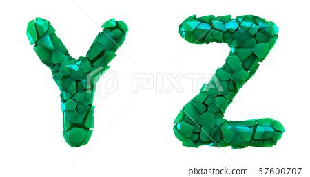 Letter set Y, Z made of 3d render plastic shards green color. 57600707