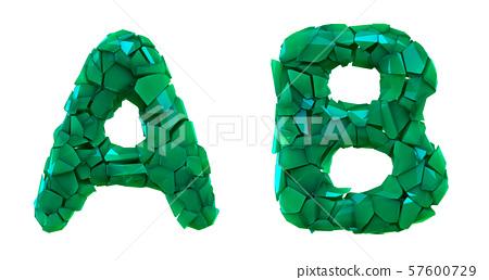 Letter set A, B made of 3d render plastic shards green color. 57600729
