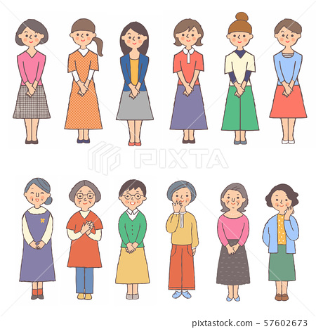 다양한 연령층의 여성 12 명 세트 57602673