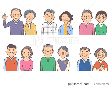6 sets of senior couples bust up set 57602679