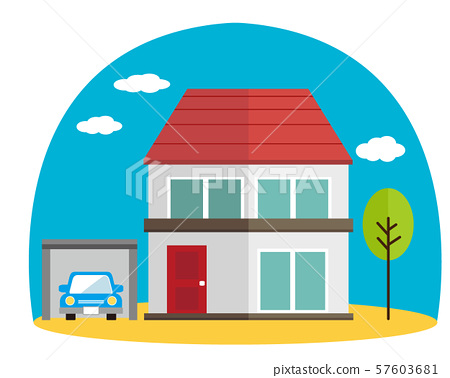 Residential house, illustration, detached house, own home, simple car, car, sky 57603681