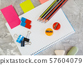 Office supplies, stationery store concept 57604079