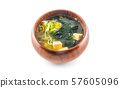 Miso soup japanese traditional meal in wooden bowl 57605096