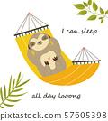 Sloth having a nap in a hammock. Cute character 57605398
