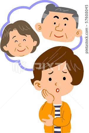 부모의 걱정하는 여성의 상반신 57608045