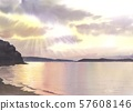 Watercolor sea evening view material 57608146