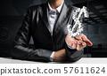 Businessman presenting dollar symbol. 57611624