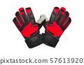 Red and black goalkeeper glove on white. 57613920