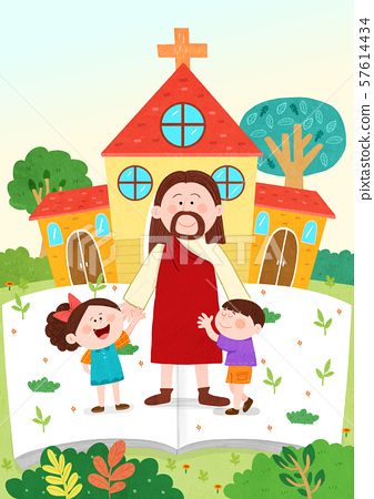 Concept of bible school or camp vector illustration 009 57614434