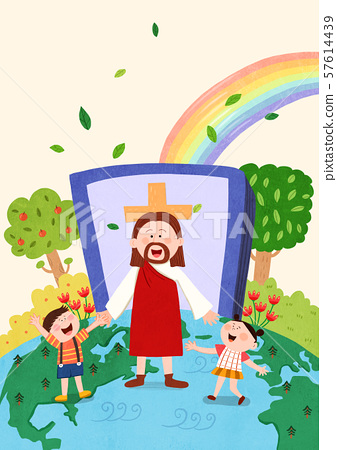 Concept of bible school or camp vector illustration 004 57614439