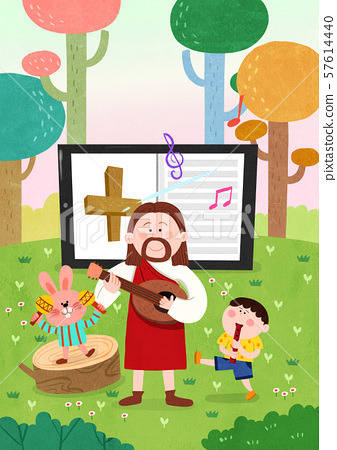 Concept of bible school or camp vector illustration 003 57614440