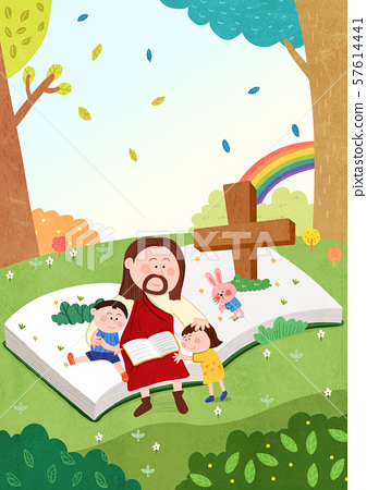 Concept of bible school or camp vector illustration 002 57614441