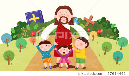 Concept of bible school or camp vector illustration 001 57614442
