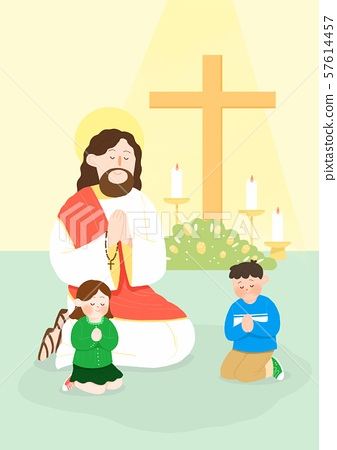 Concept of summer bible school or camp vector illustration 008 57614457