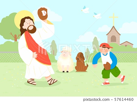 Concept of summer bible school or camp vector illustration 014 57614460