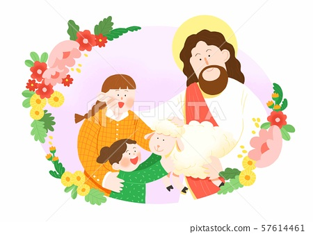 Concept of summer bible school or camp vector illustration 005 57614461