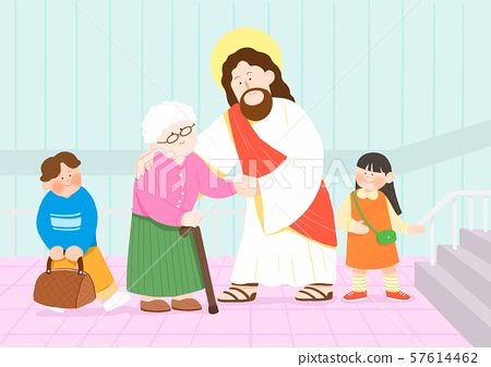 Concept of summer bible school or camp vector illustration 013 57614462