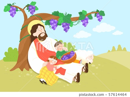 Concept of summer bible school or camp vector illustration 004 57614464