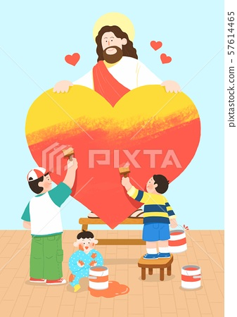 Concept of summer bible school or camp vector illustration 006 57614465