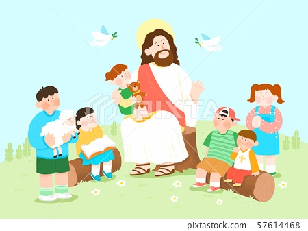 Concept of summer bible school or camp vector illustration 001 57614468