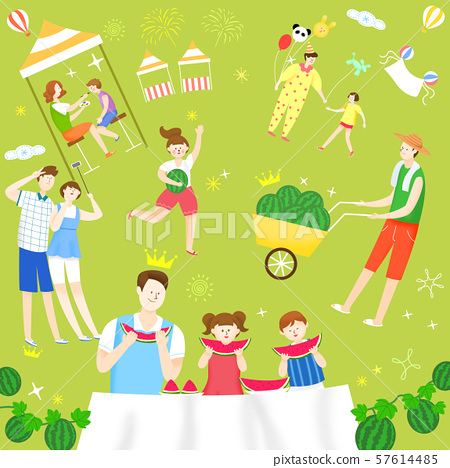 Concept of summer outdoor activities, summer festivals vector illustration 008 57614485