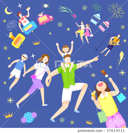 Concept of summer outdoor activities, summer festivals vector illustration 006 57614511