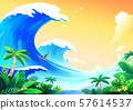 Beautiful nature landscape in summer season vector illustration 005 57614537