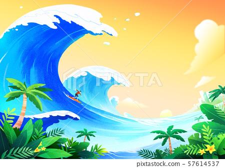 Beautiful nature landscape in summer season vector illustration 005 57614537