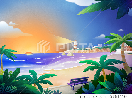 Beautiful nature landscape in summer season vector illustration 006 57614560